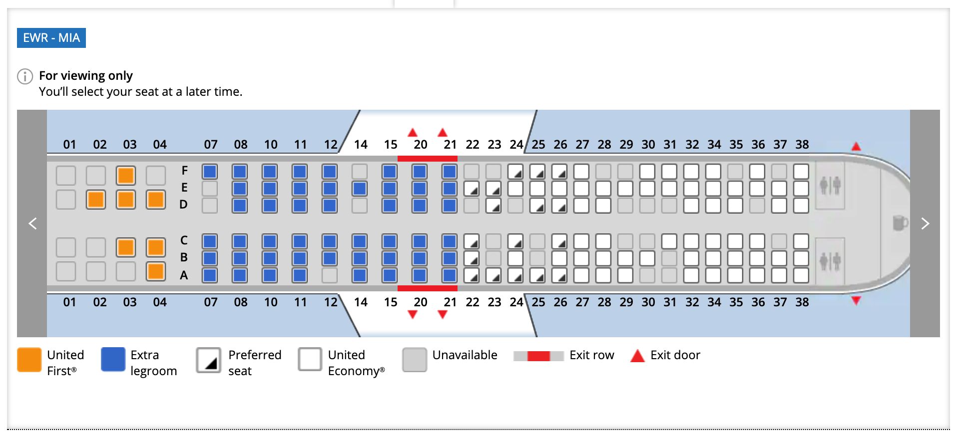 Newark to Miami United Airlines flight seat assignments March 27, 2020