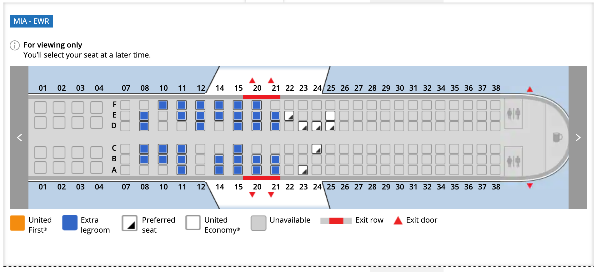 Miami to Newark United Airlines flight seat assignments March 27, 2020